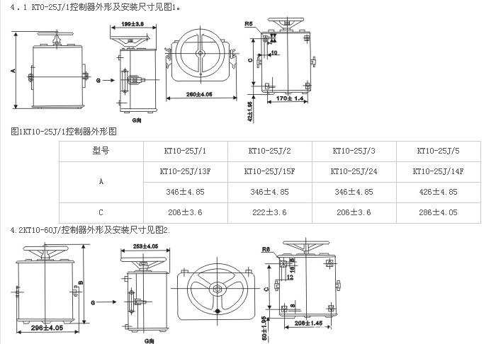 1 用途 KT10系列交流凸轮控制器(以下简称控制器),主要用于交流50HZ电压至380伏的电动机起动、调速、及换向之用,也适用于类似要求的其它电力驱动系统。 2 分类、型号及含义 2.1 KT10系列控制器按额定发热电流分25A和60A两种 2.2 型号及含义  3 基本参数  3.2.2控制鼠笼式电机的控制器见表3。